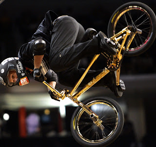 Dave Mirra back flips on BMX