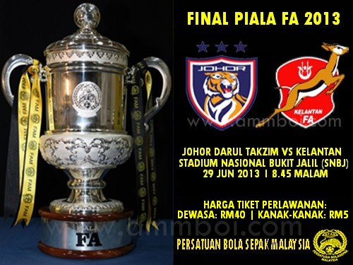 Tiket final Piala FA 2013 kekal RM40