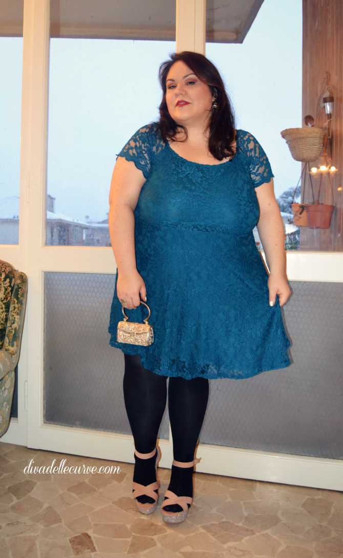 outfit lookbook capodanno plus size e curvy pizzo turchese yours clothing