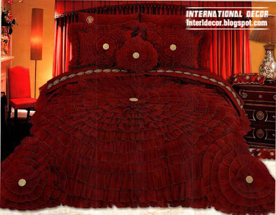 luxurious red bedspread design, royal red bedspread 2014