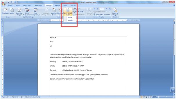 Cara Menggunakan Fitur Mail Merge Di MS. Word 2007 7