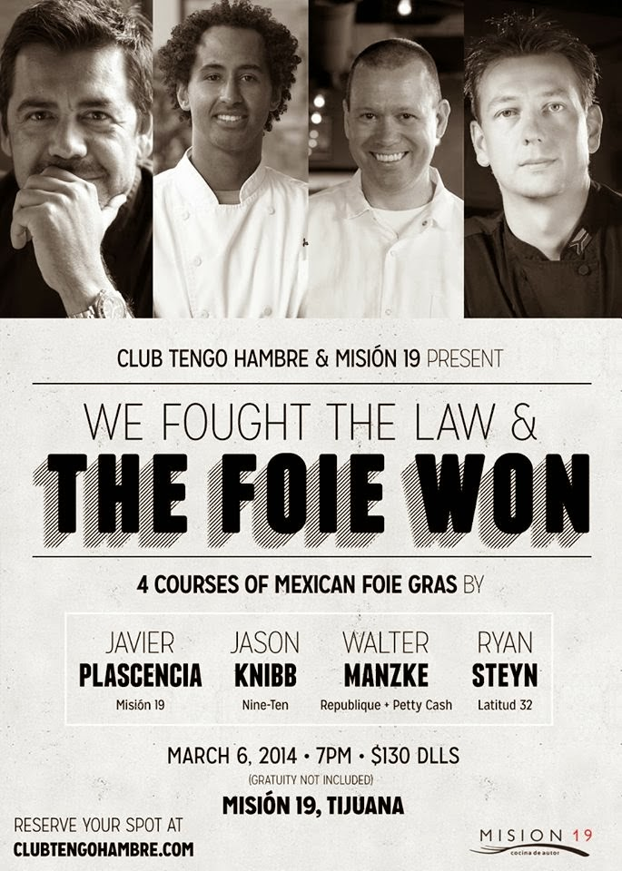 Club Tengo Hambre presents an Evening of Foie Gras at Mision 19, Thursday March 6th