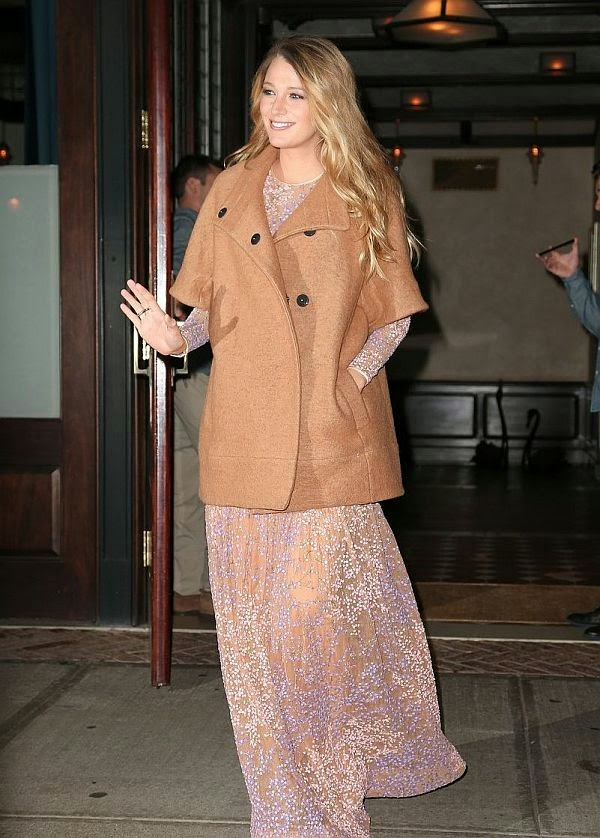 Blake Lively was looking super stylish in a long champagne dress while headed the God's Love We Deliver, Golden Heart Awards at New York, USA on Thursday, October 16, 2014.