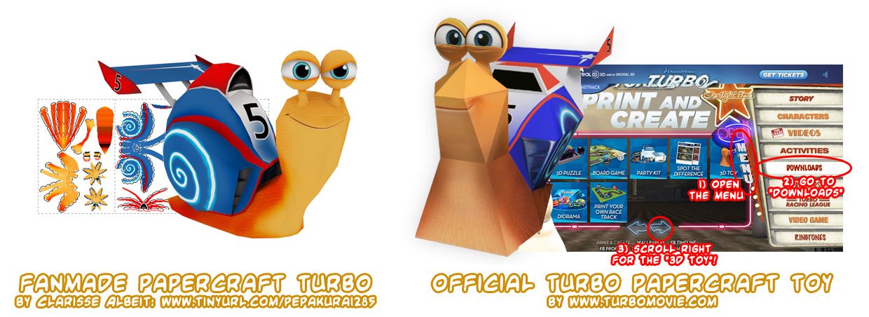 Ninjatoes' papercraft weblog: DreamWorks Turbo the snail ...