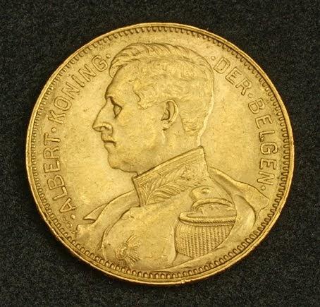 Belgium Albert I Gold 20 Francs 20 Frank Coin 1914