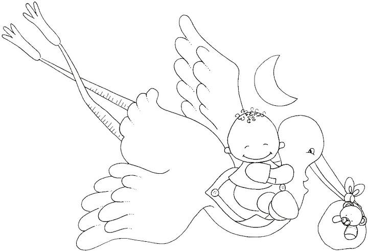 Dibujos y Plantillas para imprimir: Dibujos cigüeña para tarjetas ...