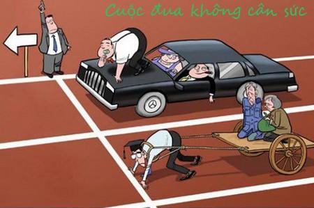 Tranh biếm họa cuộc đua không cân sức giữa giàu và nghèo