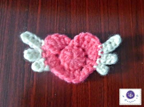 crochet winged heart applique