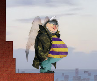 illustration of Maurice Sendak as an angel on a roof by Robert Wagt