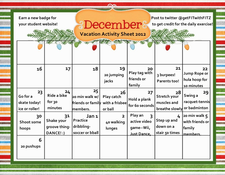 Aura Fitness Studio Christmas Vacation Activity Calendar