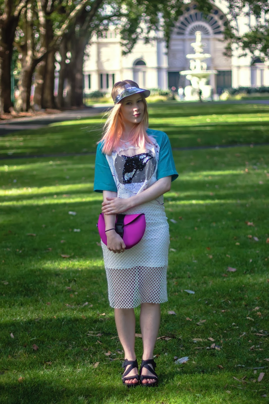 outside is colours, emma mulholland blogger outfit, girl in white fishnet skirt, vagabond black sandals, ocra snow globe top, killer whale crop top, emma mulholland sequin top