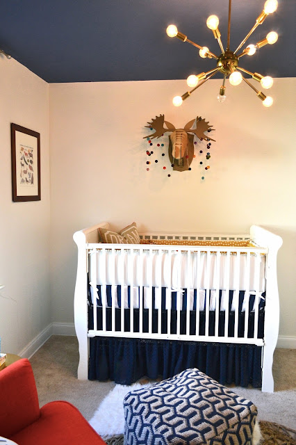eclectic woodland nursery baby boy navy blue yellow mustard and white