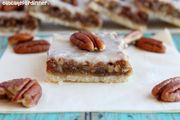 Pecan Bars with Almond Glaze