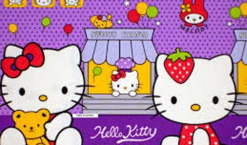 Gratis gambar wallpaper lucu Hello Kitty warna ungu