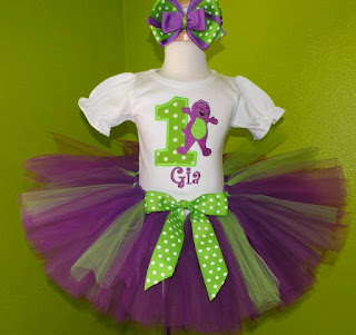 Barney with Number Girls Birthday Tutu Outfit Set