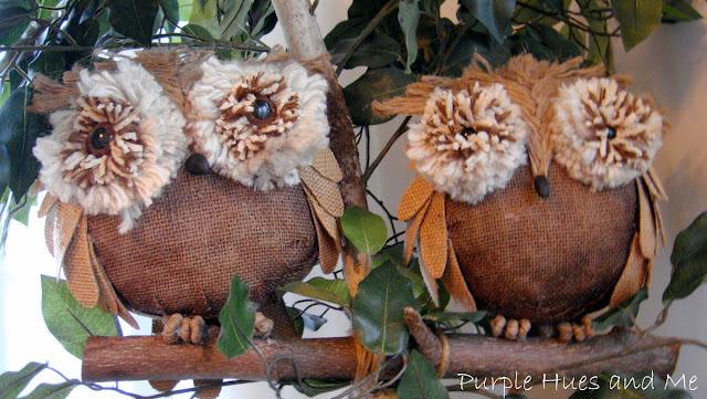 Burlap Owls   Purple Hues & Me