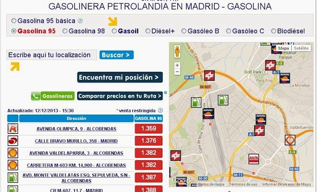 Mapa de gasolineras Las Tablas, Sanchinarro y Montecarmelo