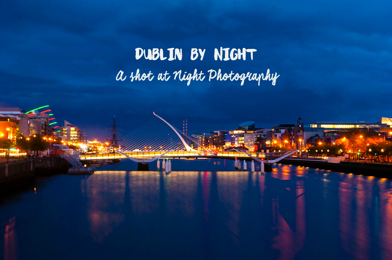 The night lights near the harp bridge in dublin