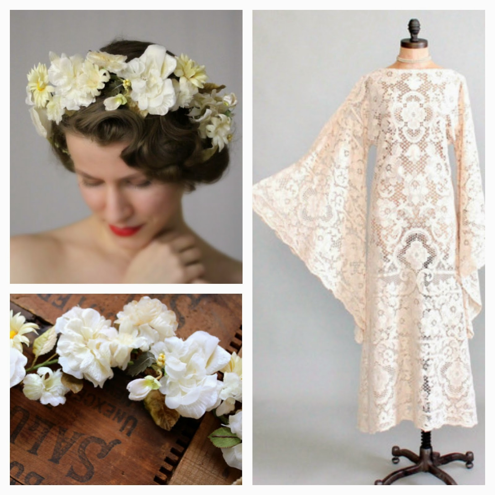 1970s Bohemian Beauty #1970s #bride #vintage #bohemian #wedding #floral #crown #lace