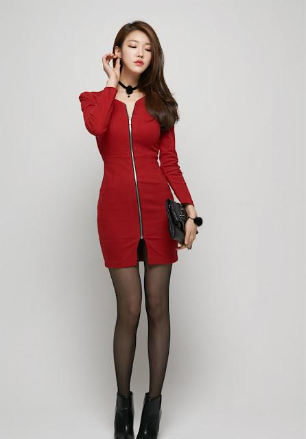 5 Jung Yun - Red Dress - very cute asian girl-girlcute4u.blogspot.com