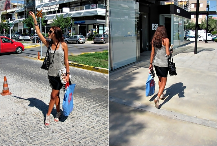 Shopping in Athens, outfit. Jelena Zivanovic, fashion & style blogger. Leopard print top. Leather mini skirt. Lace-up shoes. Shopping in Glyfada.