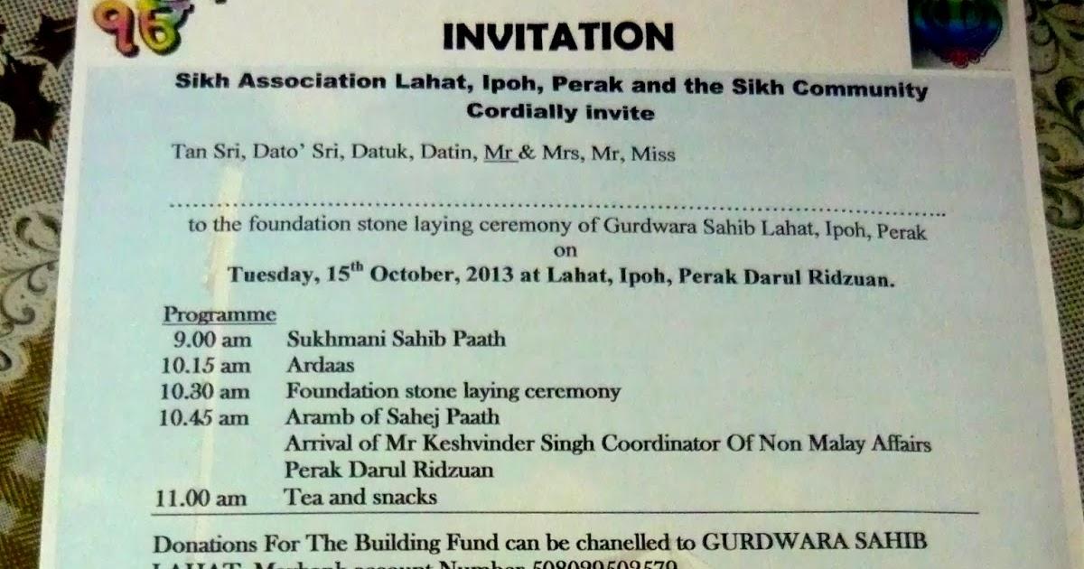 GURDWARA SAHIB LAHAT , PERAK: INVITATION LETTER FOR ...