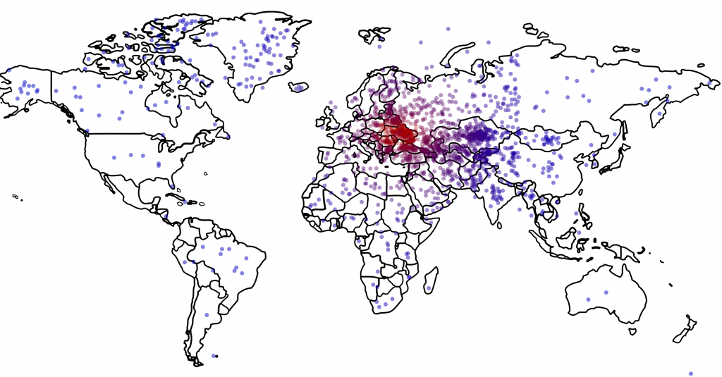 Map showing where Americans think Ukraine is located.