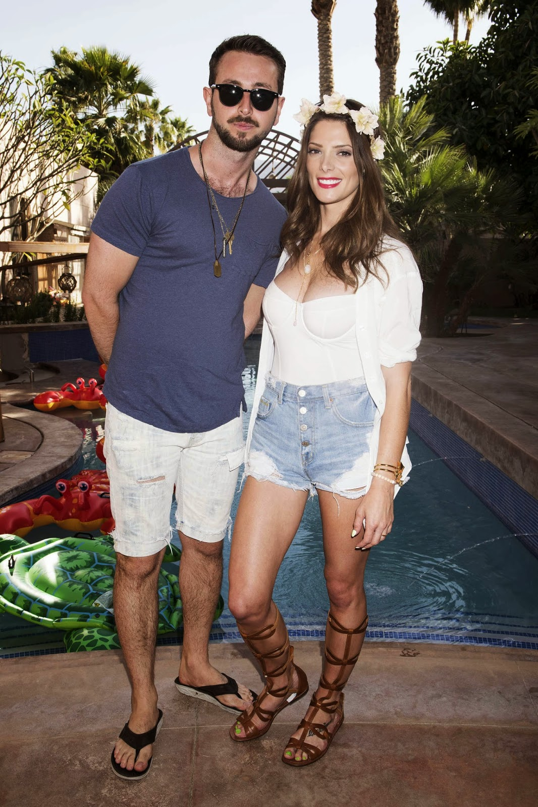Ashley Greene shows off cleavage at the Just Jared Coachella Festival Party in Indio