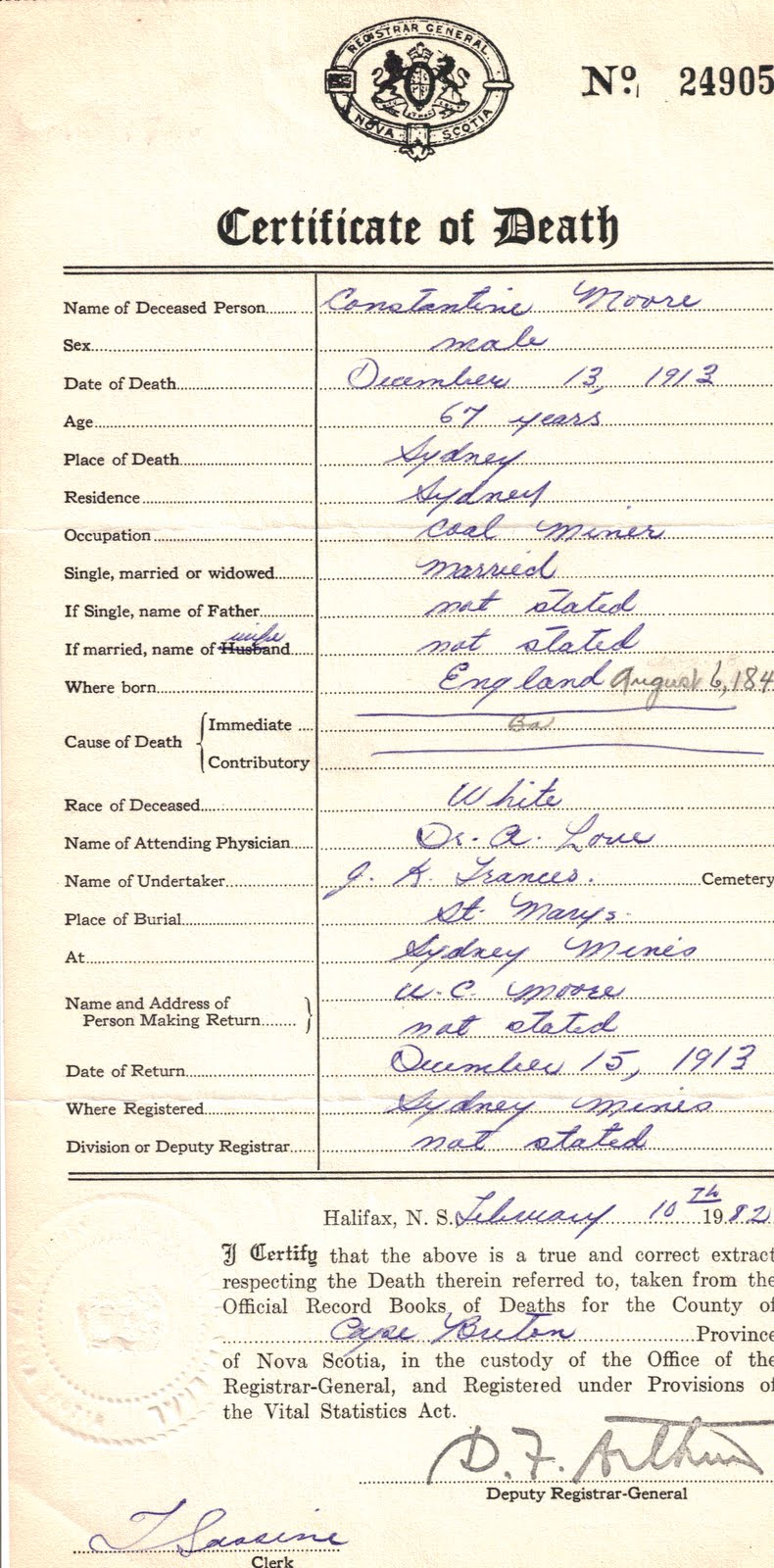 Wigan to whittier the moores family history july 2011 death certificate for constantine moore aiddatafo Gallery