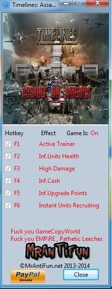 Timelines Assault on America V1.6.2 Trainer +5 MrAntiFun