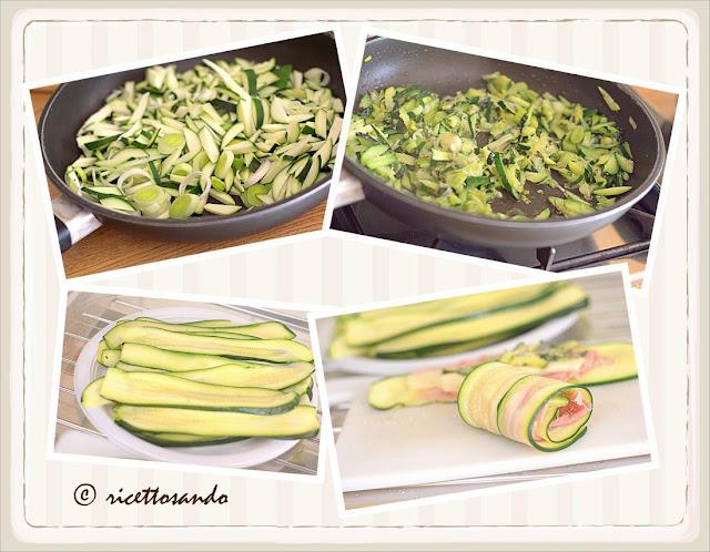 Involtini di zucchina con prosciutto e stracchino pepariamo gli ingredienti