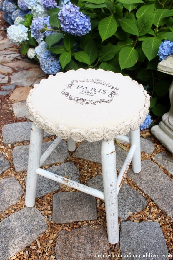 The flop to fabulous drop cloth rosette stool makeover, by Confessions of a Serial DIYer, featured on ILoveThatJunk.com