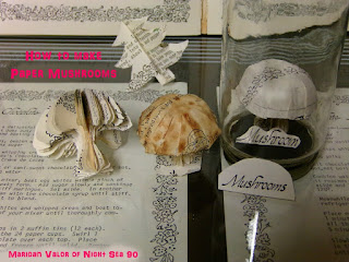 Paper Mushrooms, made out of an old recipe book. Learn how they're made on Night Sea 90
