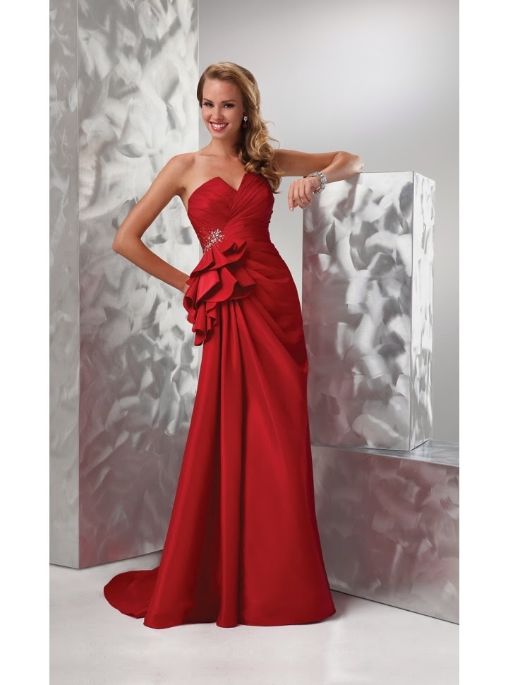 Vestido de Fiesta Largo, Strapless, Escote V y Lazo Grande