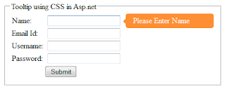 show tool tip message in asp.net wesite using CSS and HTML