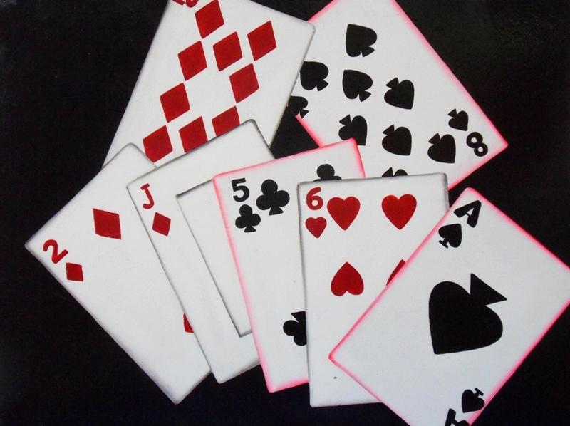 Cuadros modernos pintura moderna cartas de poker - Cuadros para bares ...