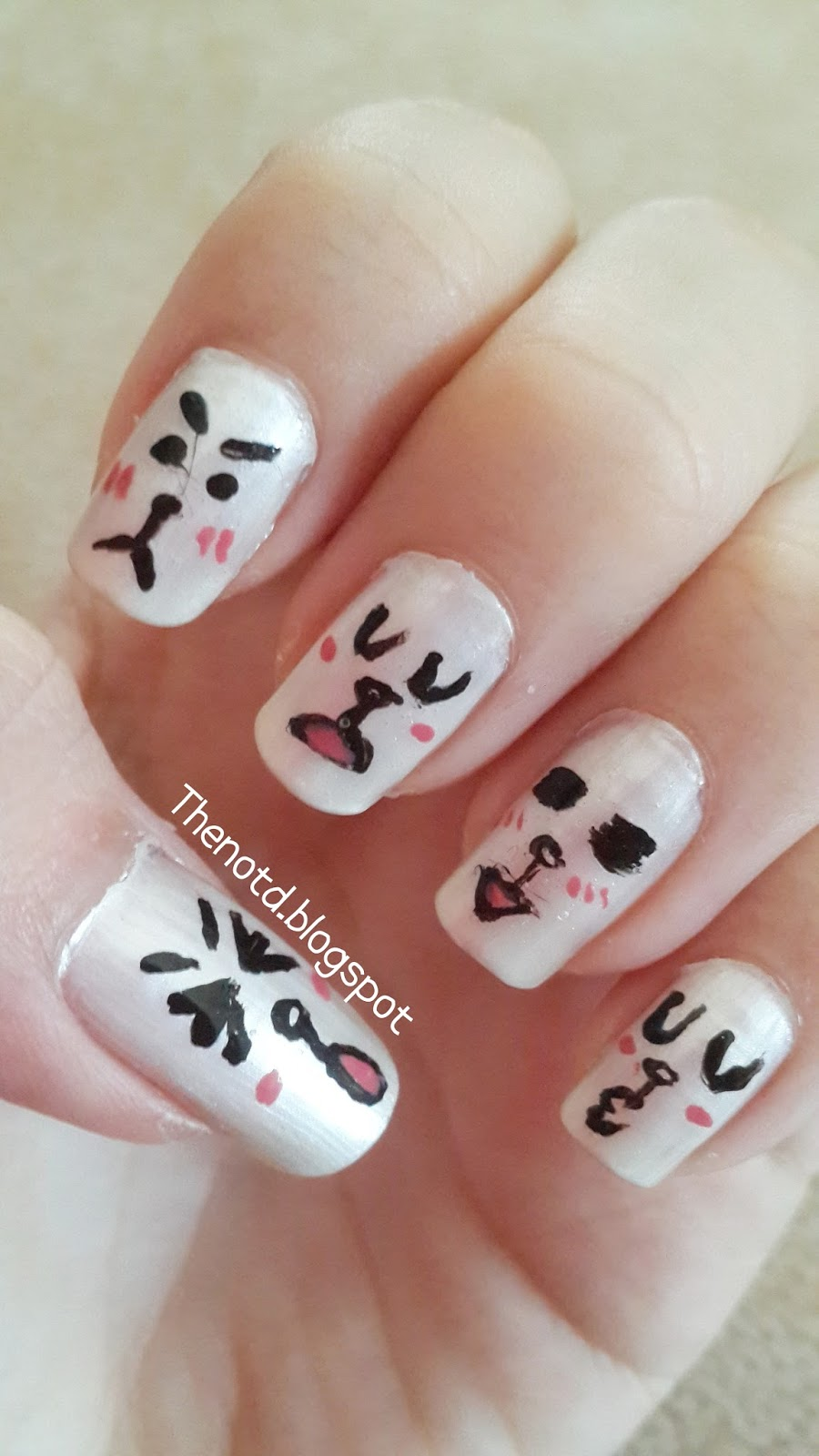 Cony nail art my best friend last month so i was thinking about this cute rabbit and finally draw on my nails u can look conys different faces from line sticker prinsesfo Image collections