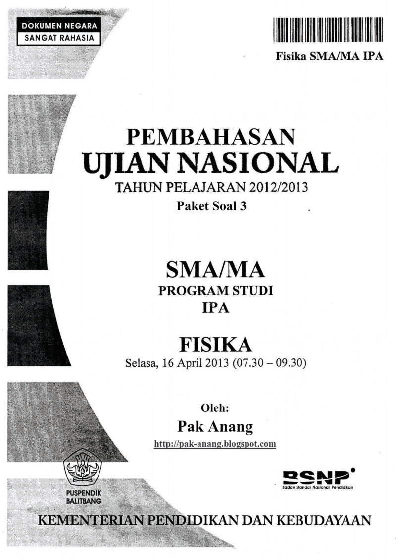 Pembahasan Soal UN Fisika SMA 2013 (TRIK SUPERKILAT) (Paket 3)