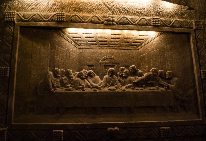 The last supper salt carving in Wieliczka Salt Mine in Poland