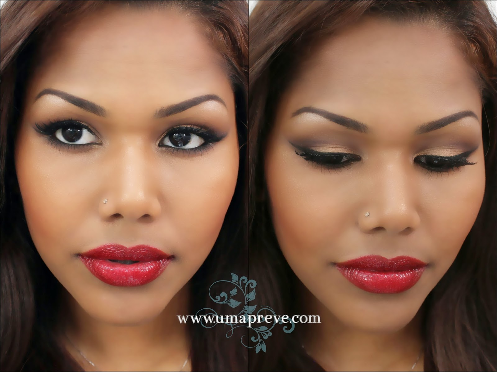 Umapreve bronzy smokey eyes with red lipstick lorac pro palette bronzy smokey eyes with red lips makeup look using the lorac pro palette the star product for this makeup is the viva glam lipstick in rihanna baditri Gallery