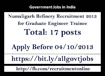 Numaligarh Refinery Recruitment 2013 for Graduate Engineer Trainee