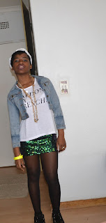 sequin mini skirt, pardon my french, french tee, creepers, neon bangles, denim jacket, head scarf, legit fashion, mr price, toya delazy for legit