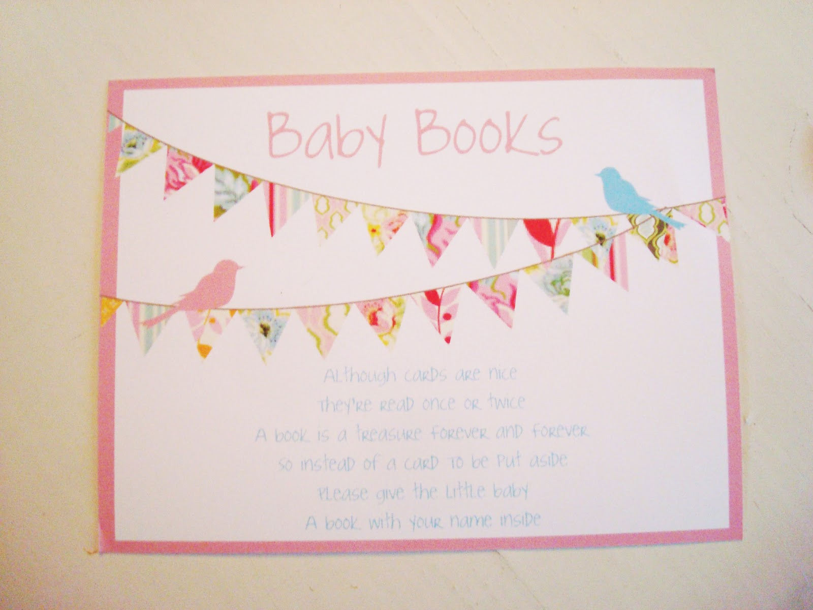 baby book cards encouraging the guest to bring a baby book instead of
