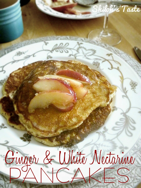 Pancakes with White Nectarines in Ginger Syrup | www.shilohstaste.com