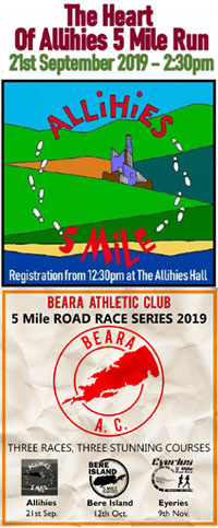 1st race of 3 in the Beara 5 mile series in W Cork - Sat 21st Sept 2019