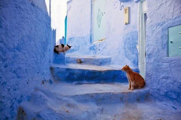 ciudad de marruecos pintada de azul
