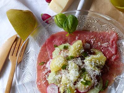 Carpaccio, kiwi, basilic et parmesan