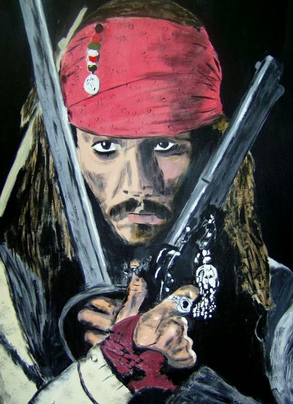jack sparrow painting art acrylic on canvas