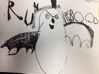 child's drawing, bat