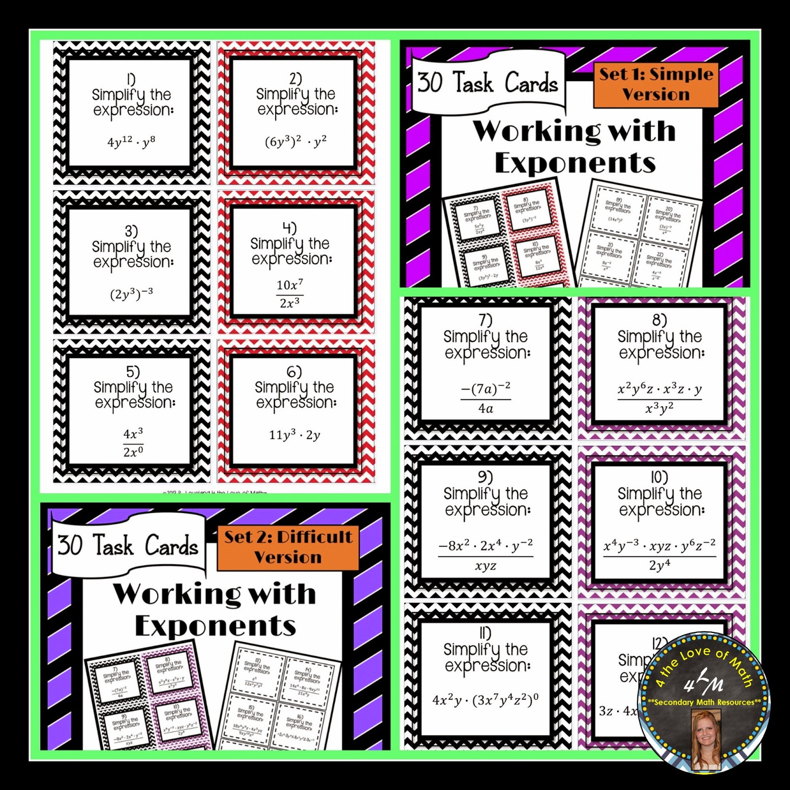http://www.teacherspayteachers.com/Product/Exponents-30-Task-Cards-Simplifying-Expressions-Using-Exponent-Rules-Set-1-670785